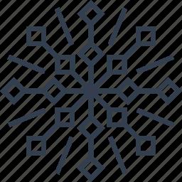christmas, flake, geometric, holiday, line, snow, snowflake, style, winter icon