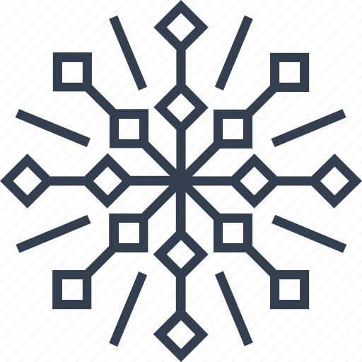 christmas, flake, geometric, holiday, line, snow, snowflake, style, winter icon