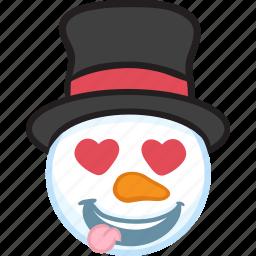 christmas, emoji, emoticon, smiley, snowman, winter icon