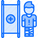 football, injury, man, player, soccer, sport, stretcher icon