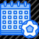 calendar, date, football, match, player, soccer, sport icon