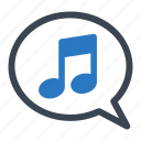 speech bubble, music, upload song, musical note