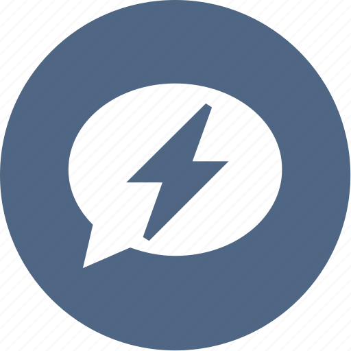 bolt, bubble, charge, chat, electric, lightning icon