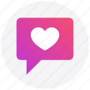 chat, heart, like, love, message, social media