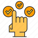 check, click, finger, hand, pointer icon