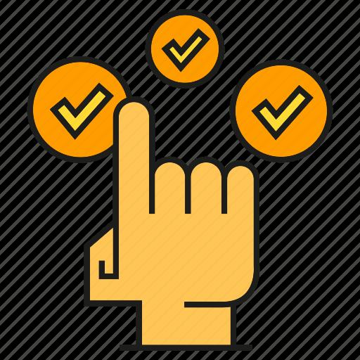 check, click, finger, hand, pointer icon