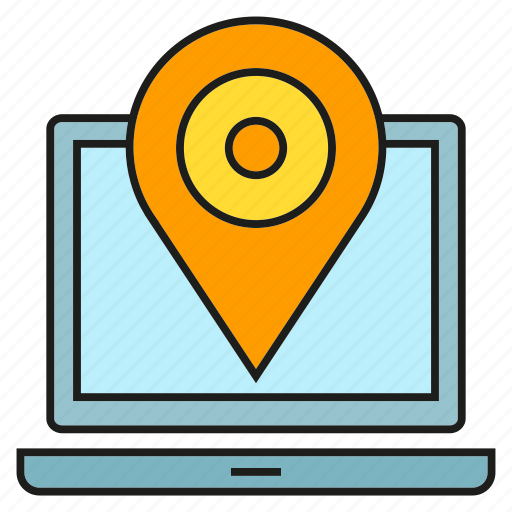 computer, laptop, location, map, pin, pointer, tracking icon