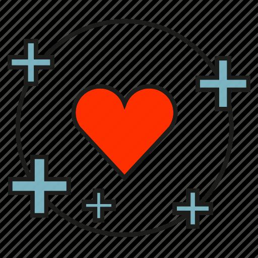heart, love, plus icon