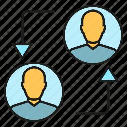 arrow, people, rotate icon