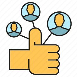 hand, network, people, social media, social network, thumb up icon
