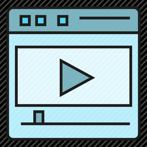 media, play, video, web icon