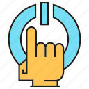 finger, hand, power, reset, start icon