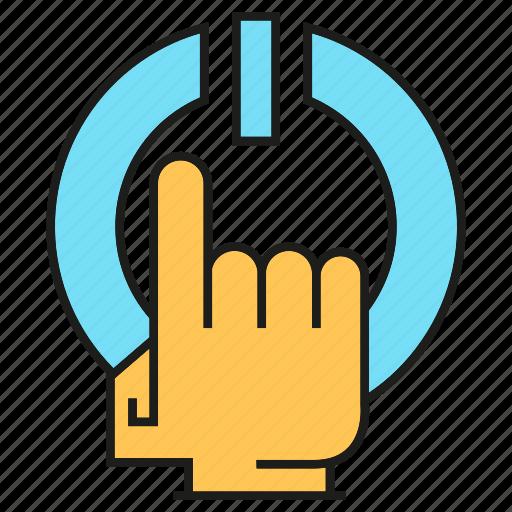 finger, hand, power, reset, start icon