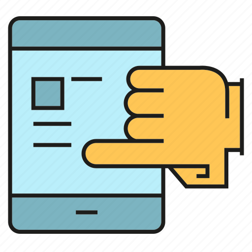 finger, hand, mobile, phone, screen, touch icon