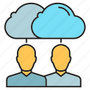 cloud, cloud computing, collaboration, people, sync icon