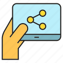 hand, link, share, social, social media, tablet icon