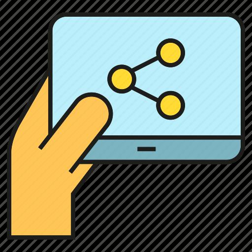 hand, link, share, social, social media, tablet icon