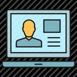 computer, laptop, people, profile icon