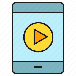 media, mobile, phone, play, smart phone, video icon
