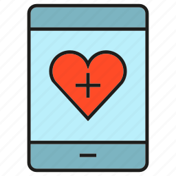 communication, heart, love, mobile, phone icon