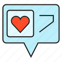 chat, heart, love, social media, speech bubble icon