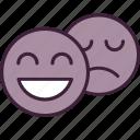 emoji, emoticon, emotion, happy, sad, smile, sticker icon