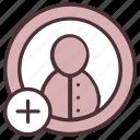 add, contact, friend, person, plus, request, social icon