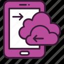 cloud, data, database, mobile, storage, technology, upload icon