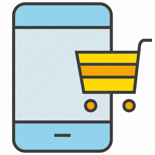 buy, cart, commerce, mobile, phone, shopping icon