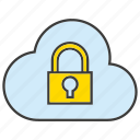 cloud, computing, encryption, key, lock, protect, secure icon