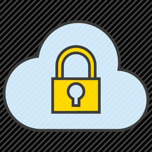 cloud, computing, encryption, key, lock, protect, secure icon
