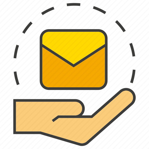 email, hand, hold, letter, send icon