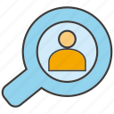 magnifier glass, people, search, view icon