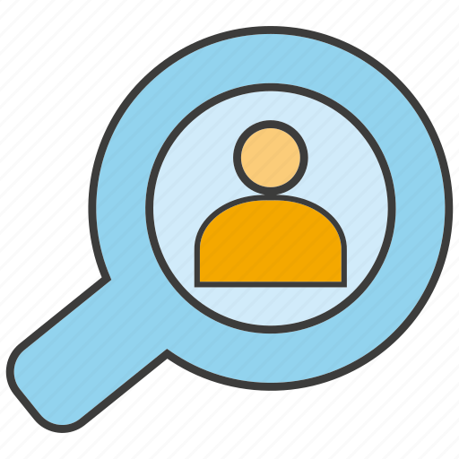 Search, magnifier glass, people, view icon
