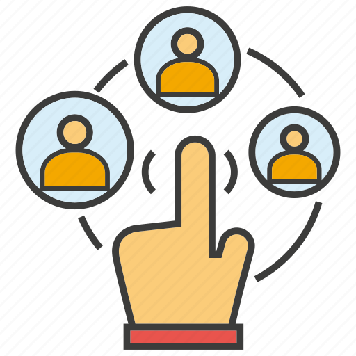 click, communicate, finger, hand, people icon