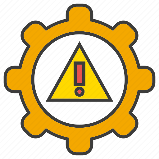 alert, ban, caution, cog, gear, warning icon
