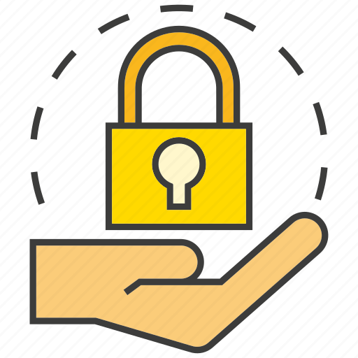 encryption, hand, hold, key, lock, protection icon