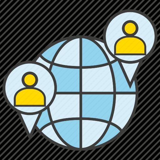communication, global, globe, people icon