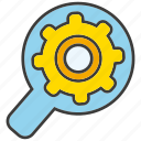 cog, gear, magnifier glass, optimization, seo icon