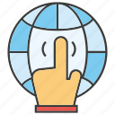 click, finger, globe, hand icon