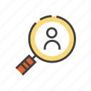 friend, search, find, magnifier, magnifying, view icon