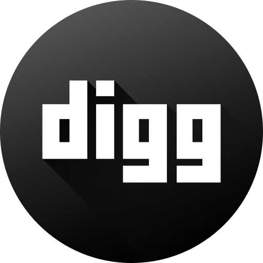 black white, circle, digg, high quality, long shadow, social, social media icon