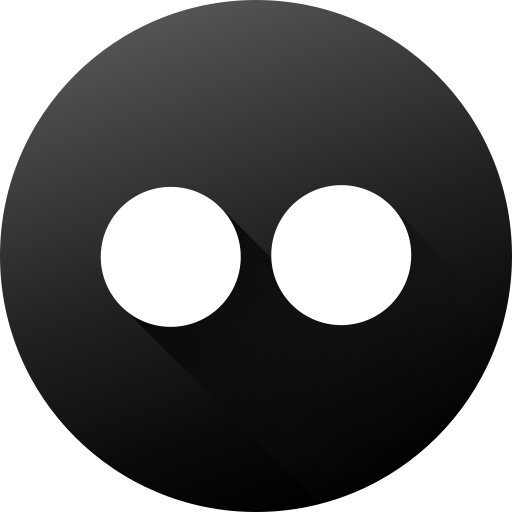 black white, circle, flickr, high quality, long shadow, social, social media icon