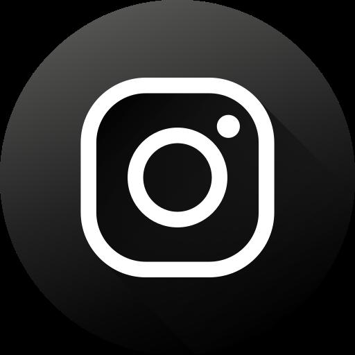 Social Media Black White High Quality Social Circle Long Shadow Instagram Icon