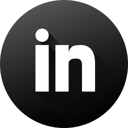 black white, circle, high quality, linkedin, long shadow, social, social media icon