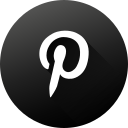 black white, circle, high quality, long shadow, pinterest, social, social media icon