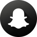 black white, circle, high quality, long shadow, snapchat, social, social media icon