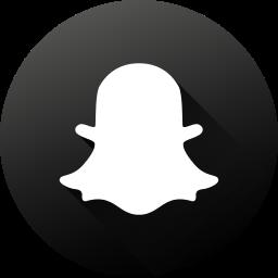 black white, circle, high quality, long shadow, snapchat, social, social media icon