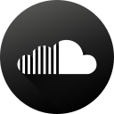 black white, circle, high quality, long shadow, social, social media, soundcloud icon