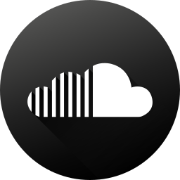 black white, circle, high quality, long shadow, social, social media, soundcloud icon